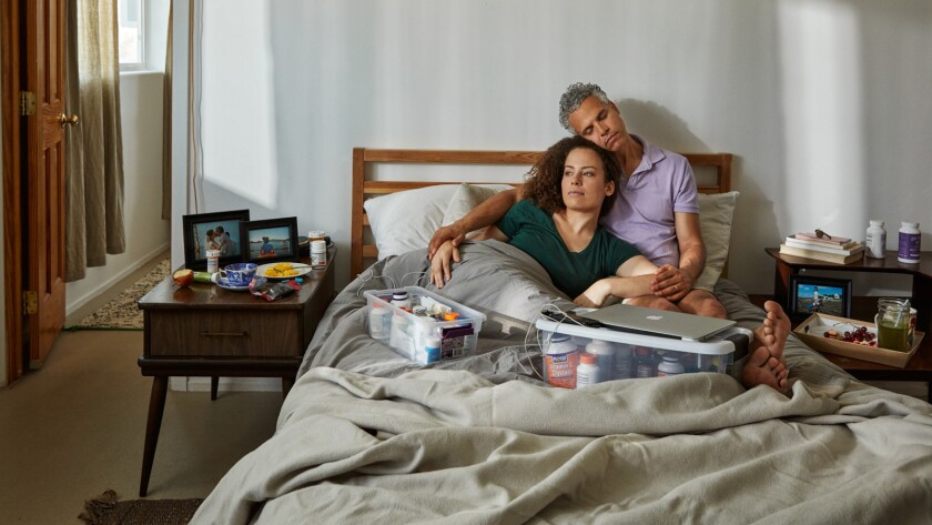 "Filmmaker Jennifer Brea and her husband, Omar Wasow, in the documentary ""Unrest."""