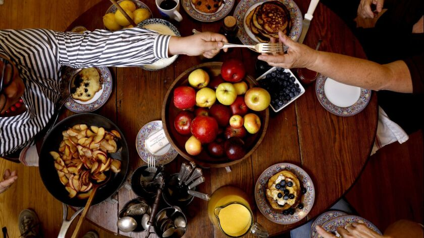 GLENDALE-CA-NOVEMBER 18, 2018: A pancake party with whole wheat pancakes, blueberry-cornmeal pancake