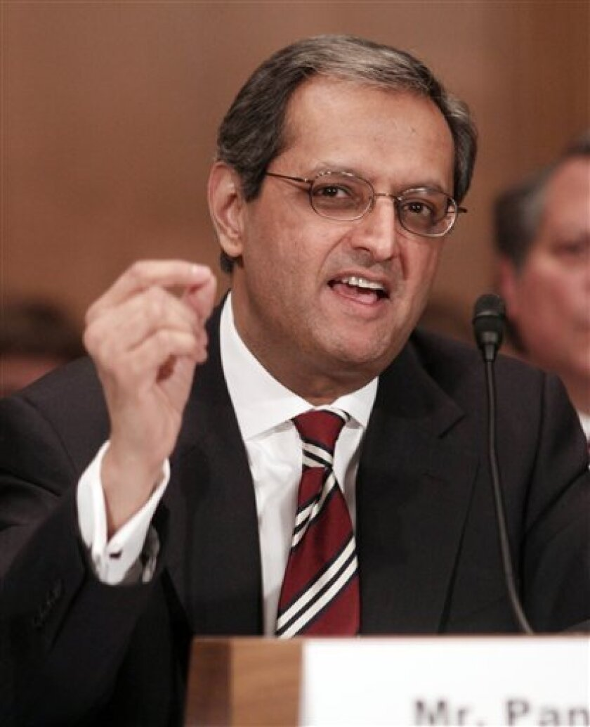 Citigroup Chief Executive Vikram Pandit testifies on Capitol Hill in Washington, Thursday, March 4, 2010, before the Congressional Oversight Panel hearing on Citigroup assistance under Troubled Asset Relief program (TARP). (AP Photo/Lauren Victoria Burke)