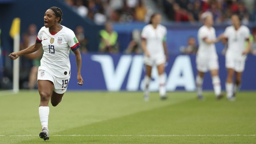 United States' Crystal Dunn celebrates after the U.S. scored the opening goal during the Women's Wor