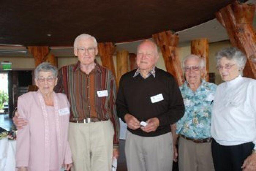 01 Nancy Leydecker ('43), Harry Crosby ('44), Albert Edgerton ('43), Alfred Sloatermen ('39), Mary Sloaterman ('43). Photos Courtesy