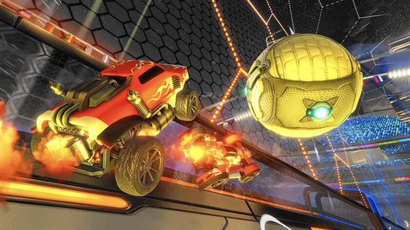 "Screenshots of the hit game ""Rocket League."""