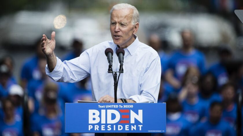 Former Vice President Joe Biden, seen at a recent campaign rally in Philadelphia, has released a keenly awaited plan to combat climate change.