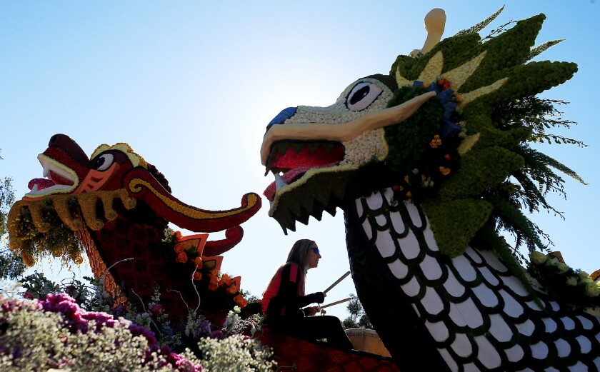 A drummer performs aboard the City of South Pasadena's 2015 entry to the Rose Parade.