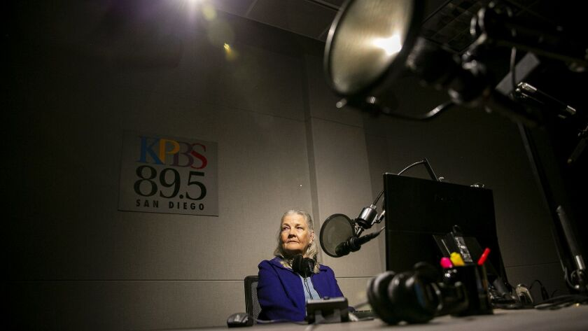 Longtime KPBS reporter Alison St John in the news organization's headquarters on the SDSU campus. St John is retiring on January 31 after 30 years.