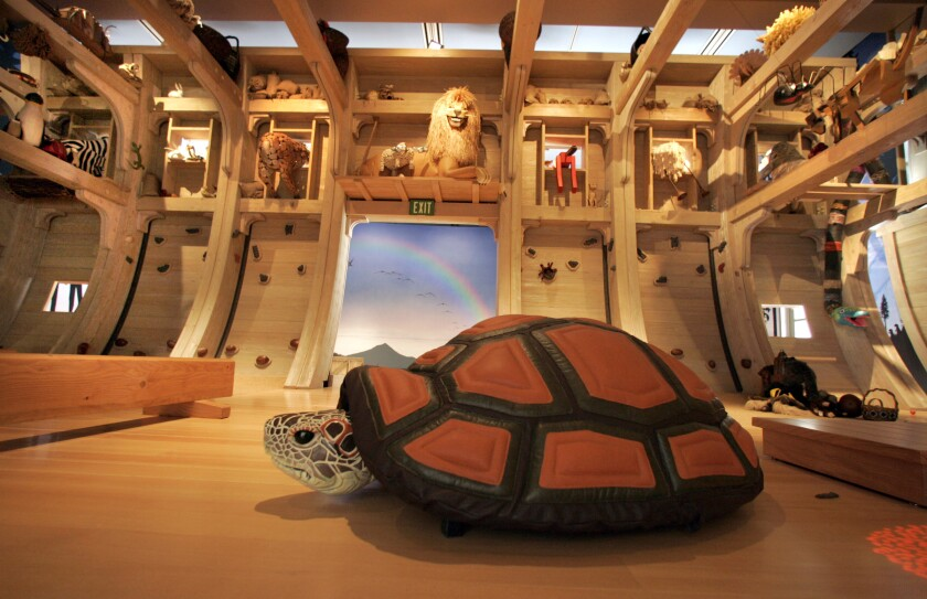 The inside of Noah's Ark is filled with animals.