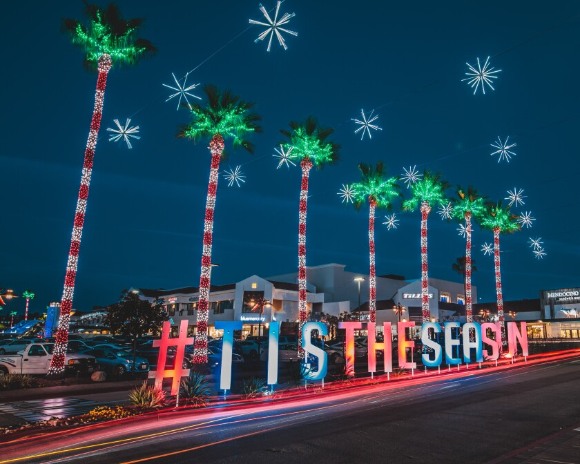 Del Mar Highlands Town Center is decked out for the holidays.