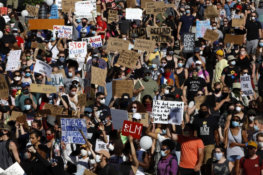 Protesters march in a Black Lives Matter rally in Pittsburgh.