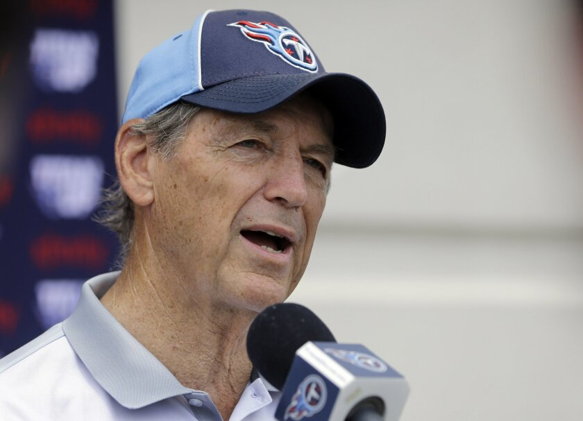 Tennessee Titans defensive coordinator Dick LeBeau answers questions following NFL football practice Thursday, May 26, 2016, in Nashville, Tenn. LeBeau now is the man fully in charge of Tennessee's defense after Ray Horton left for Cleveland. The Titans have brought in plenty of players to help him
