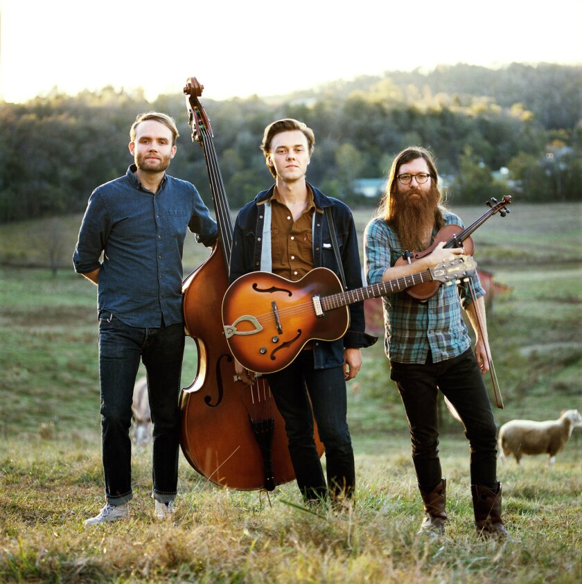 """Bassist Michael Rose, left, singer-guitarist-songwriter Parker Millsap and fiddler Daniel Foulks will perform on July 15 at the Troubadour in West Hollywood, the day after an appearance on """"Conan."""""""