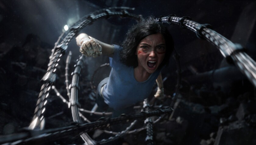 This image released by Twentieth Century Fox shows the character Alita, voiced by Rosa Salazar, in a