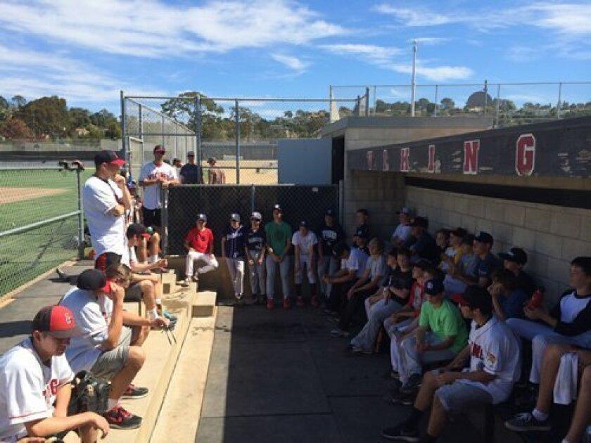 La Jolla High School Varsity Baseball Coach Gary Frank addresses the La Jolla Youth Baseball players at the end of the clinic. (Courtesy Photo)