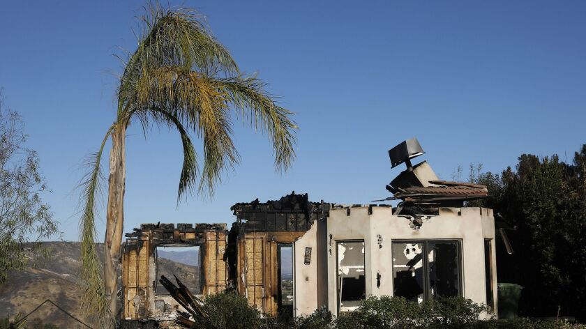 A Bell Canyon home lies in ruins after the Woolsey fire.