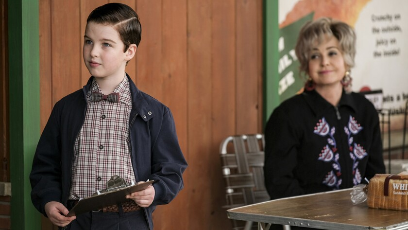 """Sheldon (Iain Armitage) launches a boycott in """"Young Sheldon"""" on CBS. With Annie Potts."""