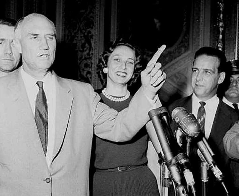 Strom Thurmond talks to reporters after setting a record for the longest-ever filibuster by an individual senator.