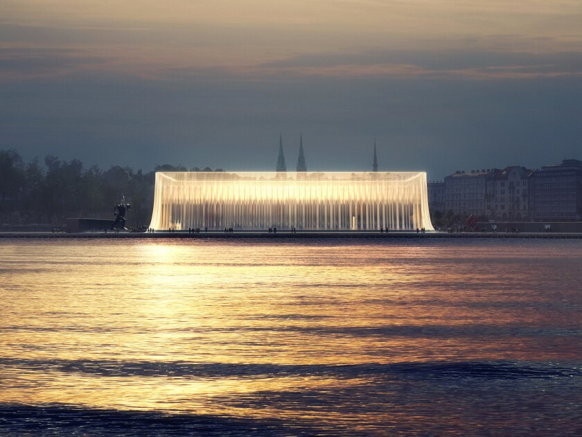 A proposed rendering for the Guggenheim Helsinki is shown. The open-call architecture competition has been criticized for keeping anonymous the names of the participating firms.