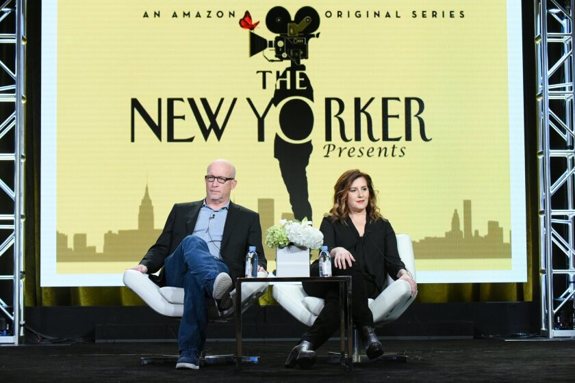 """FILE - In this Jan. 11, 2016 file photo, executive producers Alex Gibney, left, and Kahane Cooperman participate in """"The New Yorker Presents"""" panel at the The Amazon 2016 Winter TCA in Pasadena, Calif. The New Yorker regularly features a formidable mix of deeply-reported stories and profiles, ficti"""
