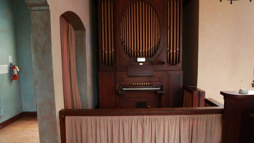 A pipe organ inside Swedenborgian Church once played for congregation members and still works.
