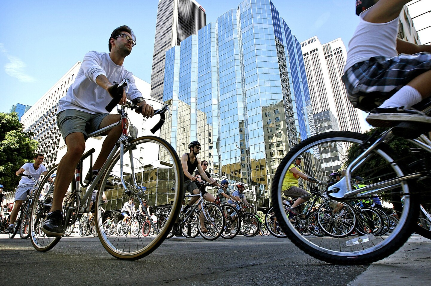 Bike riders take advantage of downtown's carless streets.