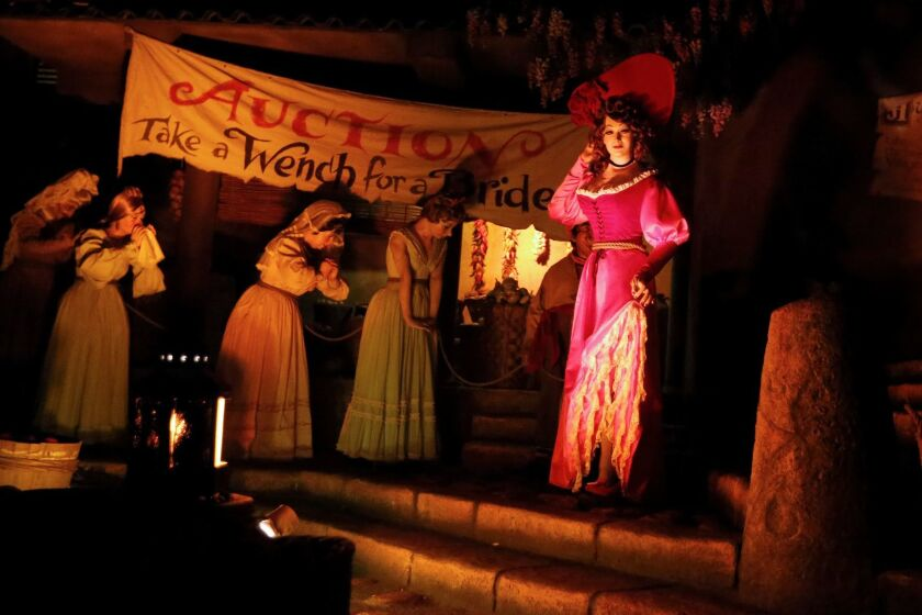 ANAHEIM, CALIF. -- FRIDAY, JUNE 30, 2017: The scene where women are being sold for auction in the Pirates Of The Caribbean ride at Disneyland in Anaheim, Calif., on June 30, 2017. (Gary Coronado / Los Angeles Times)