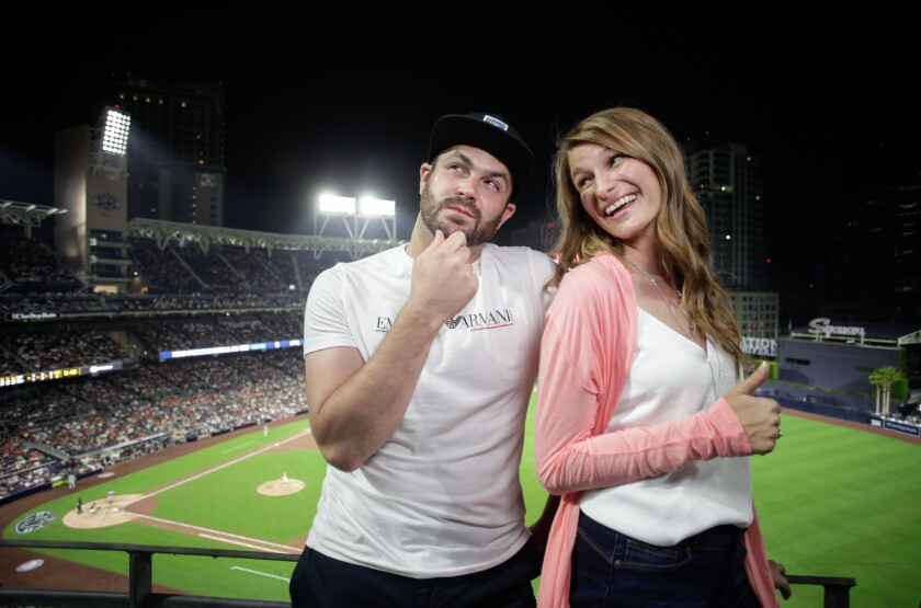 Tom and Kristle enjoy an evening together while on a blind date at Petco Park.