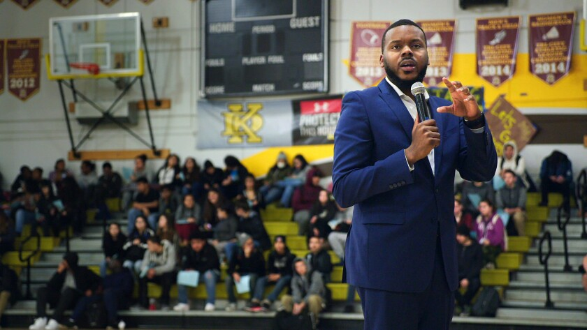 "In this image released by HBO, Mayor Michael Tubbs speaks to high school students in Stockton, Calif., in a scene from the documentary ""Stockton On My Mind."" The film dives into the dreams of an unlikely mayor, who became the community's youngest and first Black mayor in 2016, and who defied odds to lead his impoverished, Central California city. (HBO via AP)"