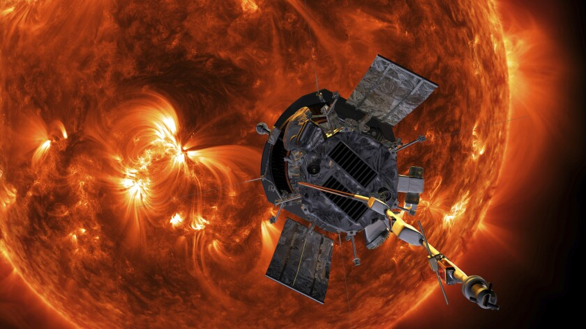 This image made available by NASA shows an artist's rendering of the Parker Solar Probe approaching