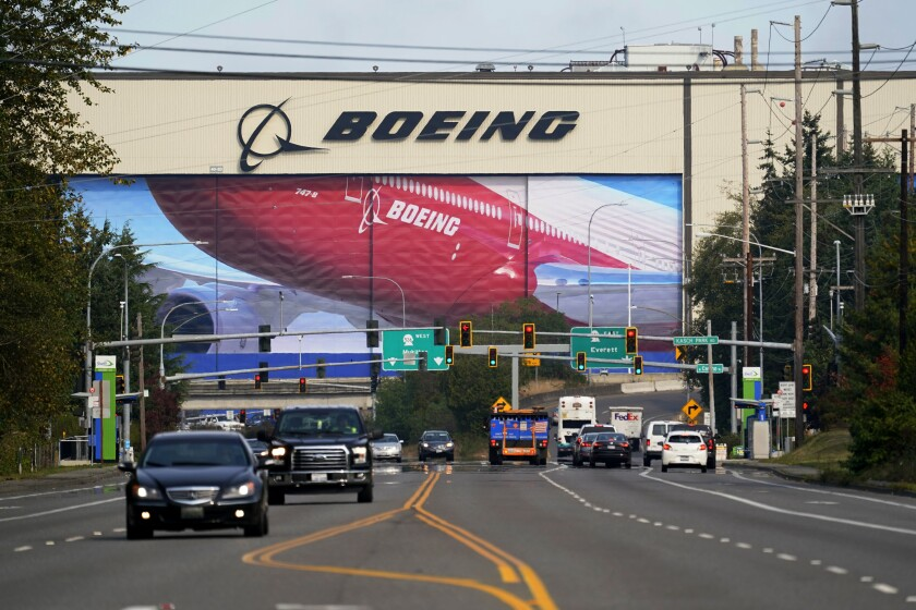 Boeing airplane production plant in Everett, Wash.