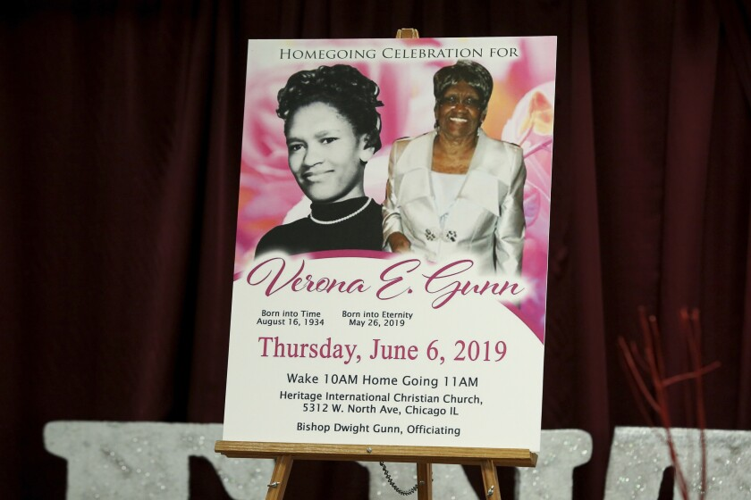 FILE - This June 11, 2019 file photo of a poster showing Verona Gunn is displayed during a press conference in Chicago.. Verona Gunn was an 84-year-old woman killed last May when two Chicago Police vehicles slammed into a car she was riding in. Crashes involving Chicago police vehicles that killed Gunn and a young mother last week, highlight the dangers of police speeding to crime scenes or during car chases. (AP Photo/Teresa Crawford File)