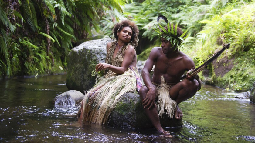"""Marie Wawa and Mungau Dain in a scene from the film """"Tanna,"""" nominated for an Oscar in the foreign-language category."""