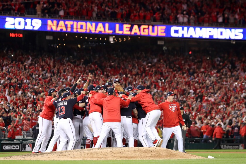 The Washington Nationals celebrate winning Game 4 and the NLCS against the St. Louis Cardinals on Tuesday in Washington, D.C.