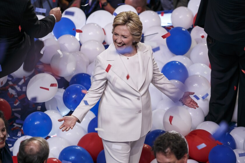 Hillary Clinton celebrates at the 2016 Democratic National Convention in Philadelphia.