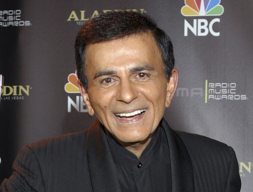 "FILE - In this Oct. 27, 2003, file photo, Casey Kasem poses for photographers after receiving the Radio Icon award during The 2003 Radio Music Awards at the Aladdin Resort and Casino in Las Vegas. Family members of radio personality Casey Kasem have settled a lawsuit against his widow that alleged her neglect and physical abuse led to his death in 2014. The two sides filed a joint request to have the case and a counter-suit, part of a legal battle over the late life and death of the longtime ""American Top 40"" host, dismissed in Los Angeles Superior Court on Monday. (AP Photo/Eric Jamison, File)"