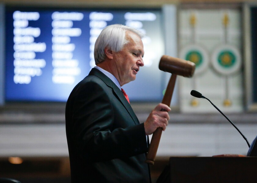 Ron Ramsey presides over the Tennessee Senate in Nashville. Ramsey has spearheaded an effort to oust three Democratic state Supreme Court justices who are up for retention elections Thursday,