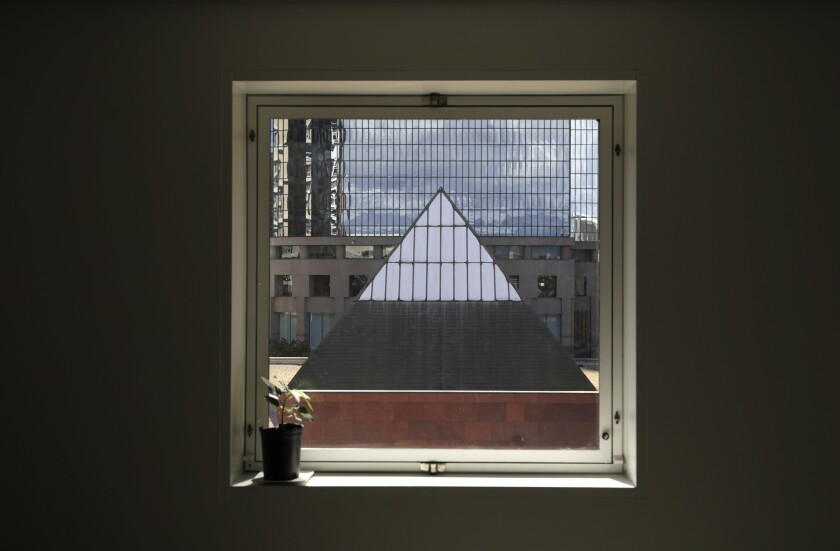 LOS ANGELES, CA - March 8, 2019: The view of one of the pyramid skylights of the MOCA Grand, as seen