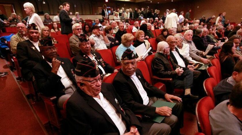 Military veterans were among those who attended Tuesday's screening at the Balboa Theatre of excerpt