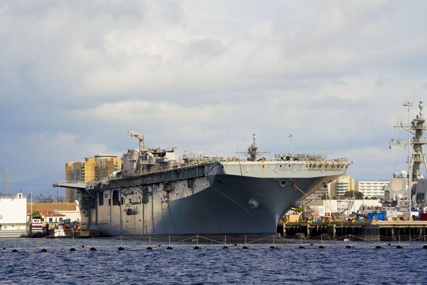 USS Bonhomme Richard sits pier side