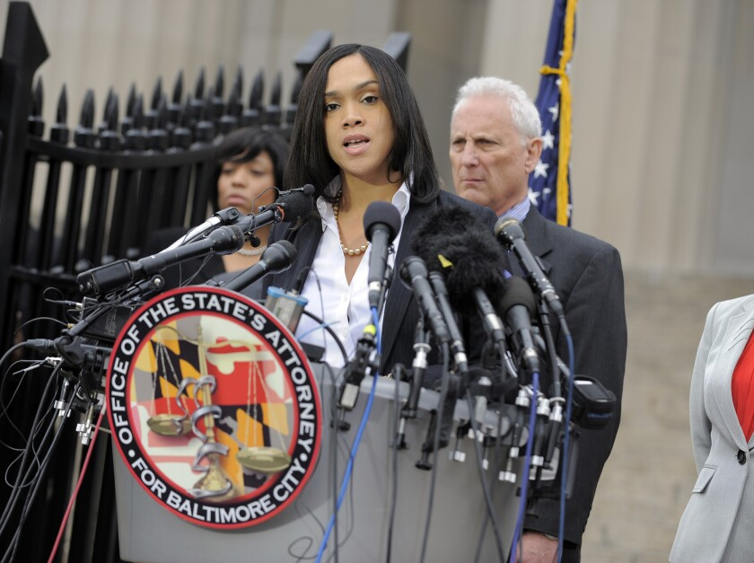 The charges filed against six police officers in Freddie Gray's death were announced May 1 by Baltimore State's Atty. Marilyn J. Mosby.