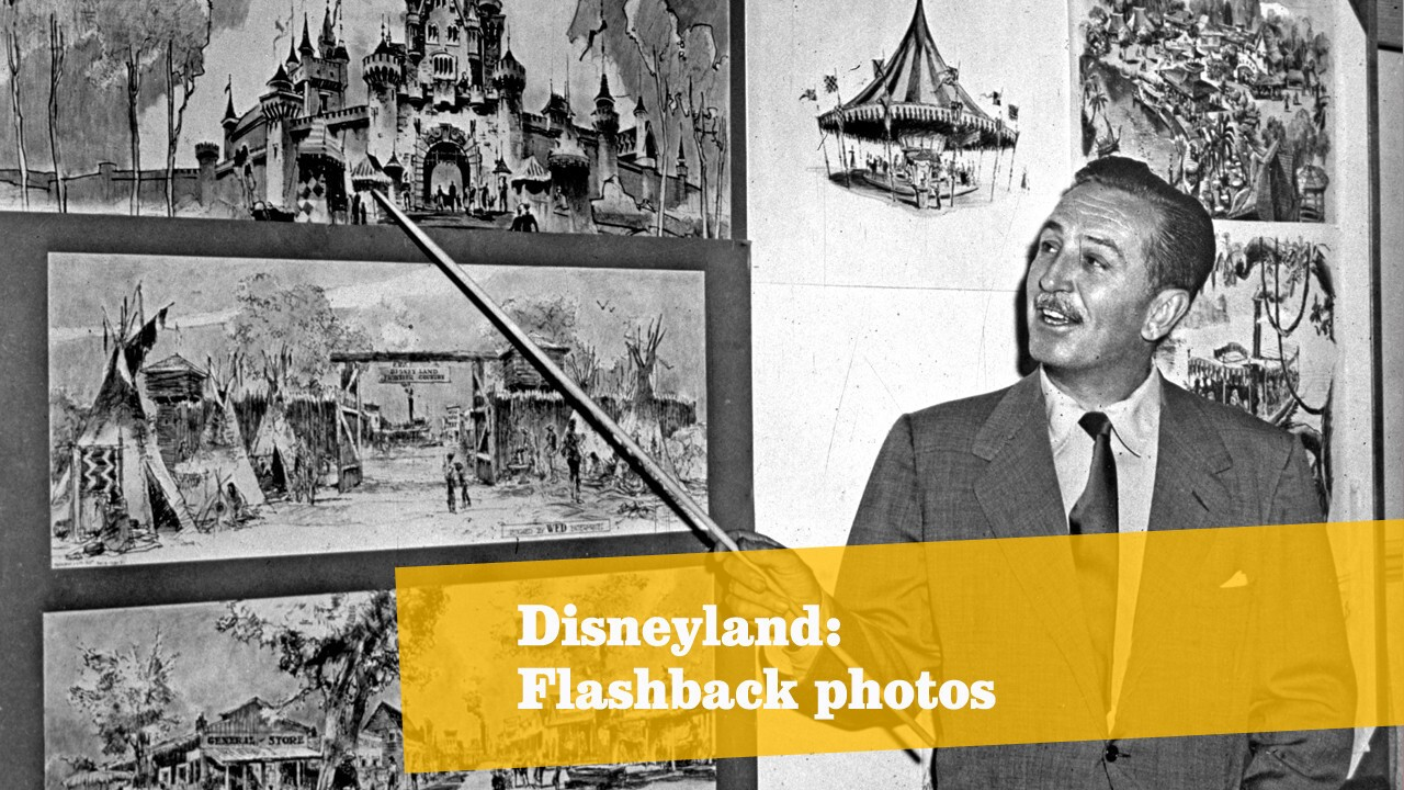 American producer, director and animator Walt Disney goes over sketches of Disneyland in 1955.