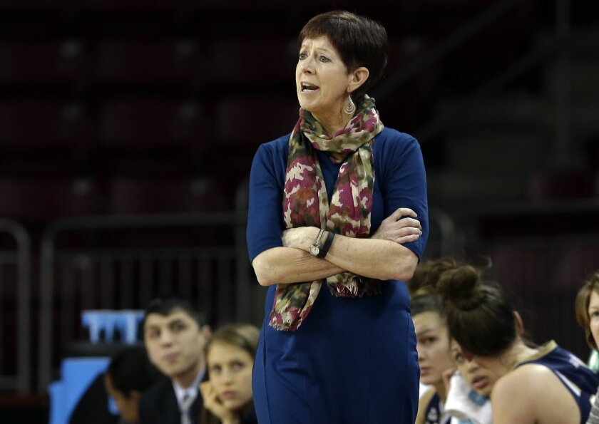 """File-This Jan. 14, 2016, file photo shows Notre Dame coach Muffet McGraw talking to her players during the first half of Notre Dame's NCAA college basketball game in Boston. """"We're a young league right now,"""" McGraw said. """"When you look at this senior class, you're not looking at a lot of WNBA draft picks in the senior class. When you look at the freshmen and sophomores, you've got loads of talent in the conference."""" (AP Photo/Elise Amendola, File)"""