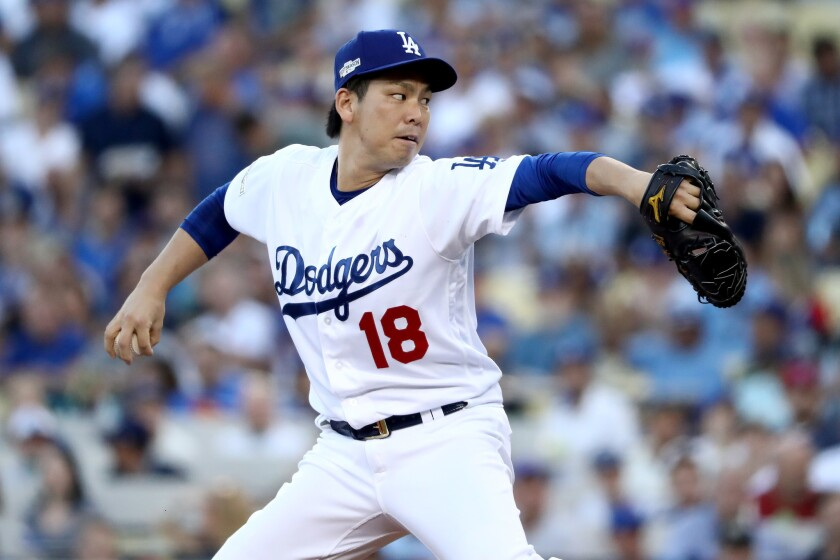 Dodgers' Kenta Maeda pitches against the Chicago Cubs in Game 5 of the National League Championship Series on Oct. 20.