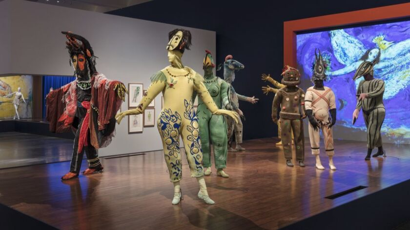 "Installation photo of ""Chagall: Fantasies for the Stage,"" at LACMA."