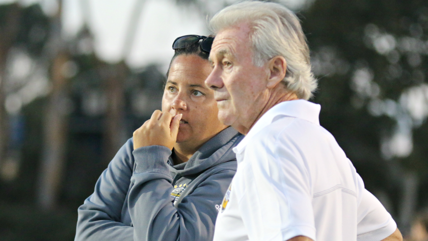 The UCSD women's soccer team is led by Brian McManus (right), the head coach for 30 years, and associate head coach Kristin Jones, a former player who won two NCAA Division II titles for the school.