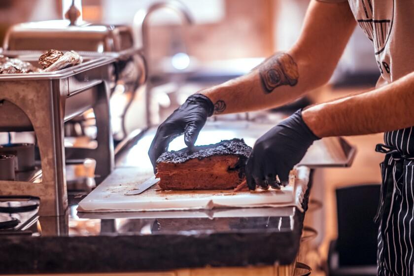 III Mas chef Arthur Grigoryan prepares his basturma brisket