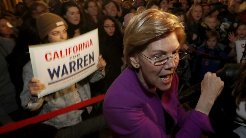 GLENDALLE, CALIF. - FEB. 18, 2019. Presidential candidate Elizabeth Warren greets an overflow crowd