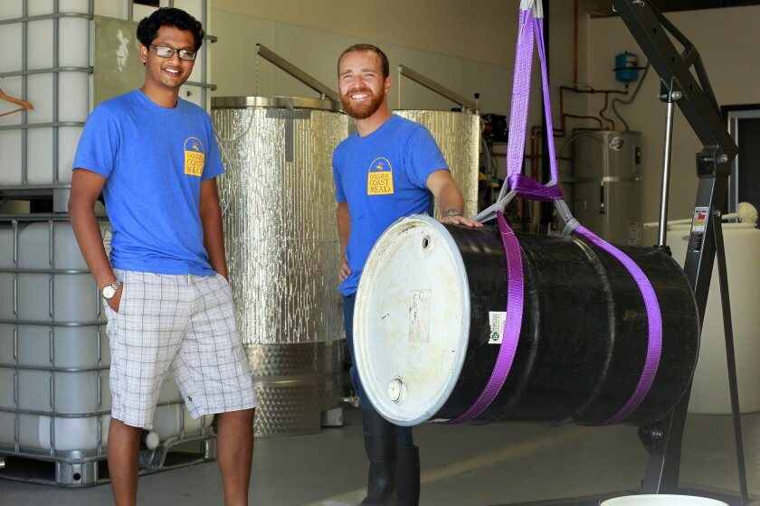 Praveen Ramineni, left, and Frank Golbeck are two of Golden Coast Mead's three owners.