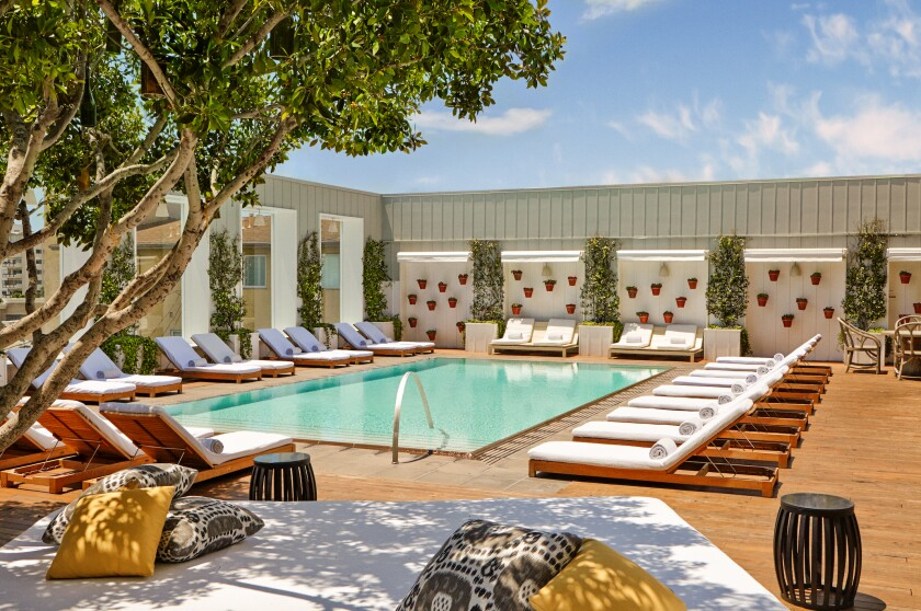 A view of the Skybar Pool Deck at the Mondrian Los Angeles hotel.