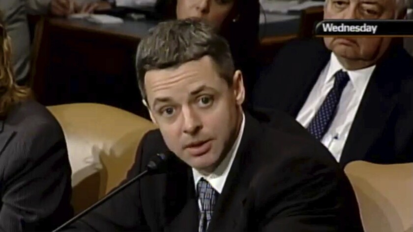 In this May 7, 2008, image from video provided by C-SPAN, Raymond Kethledge testifies during his con