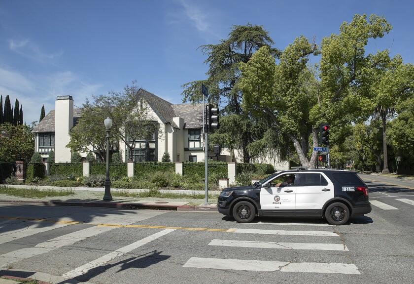 L.A. police patrol outside Mayor Eric Garcetti's home in Windsor Square.