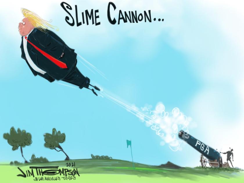 Donald Trump and PGA cartoon.